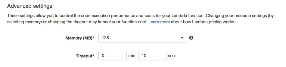 AWS Lambda Advanced Settings