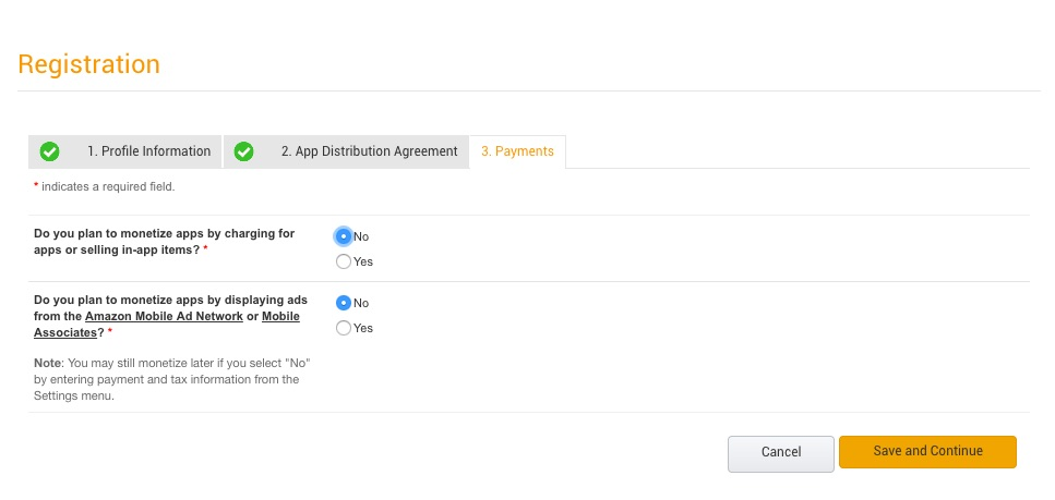 Amazon Developer Payments Page