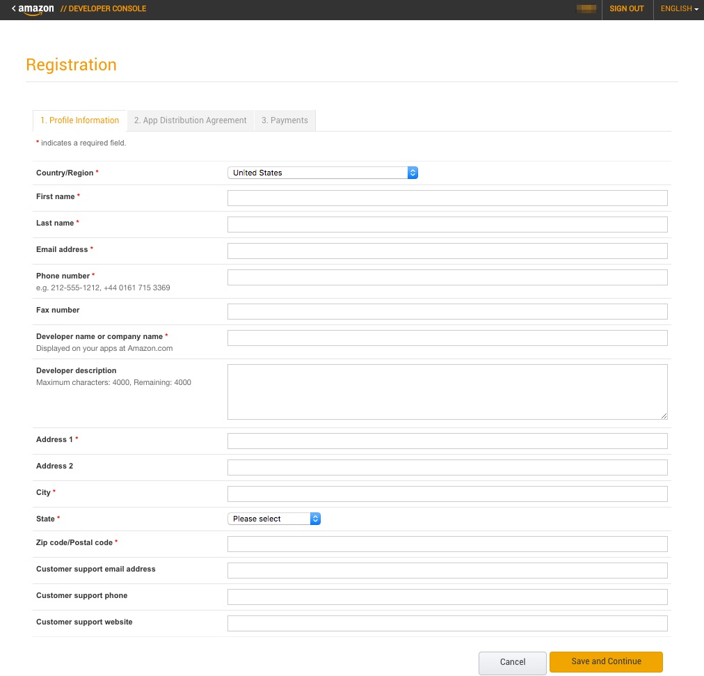 Amazon Developer Registration
