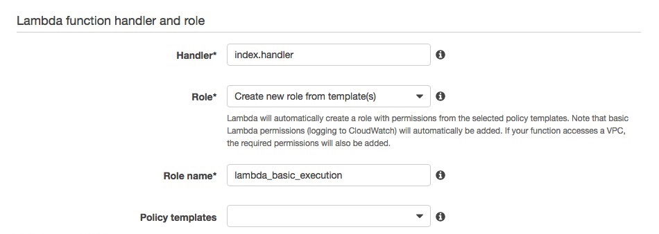 AWS Lambda Function Handler and Role