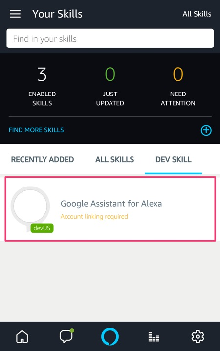 Alexa Google Assistant Skill
